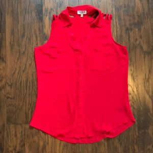 Express Red Sleeveless Collared Button Down Blouse